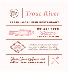 trout river restaurant signs titles inscriptions vector image
