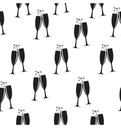 Two Glasses of Champagne Silhouette Seamless vector