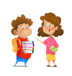 Two multiracial children studying vector