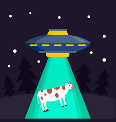 ufo ship takes cow concept background flat style vector image