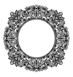 Vintage baroque round frame decor detailed vector