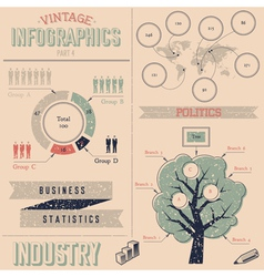 Vintage infographics design elements vector image