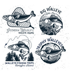 Vintage walleye fishing emblems and labels vector