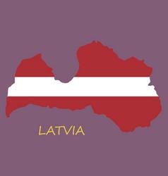 waving fabric flag map of latvia vector image