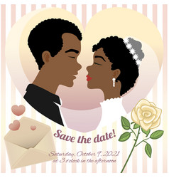 wedding card with young african american couple vector image