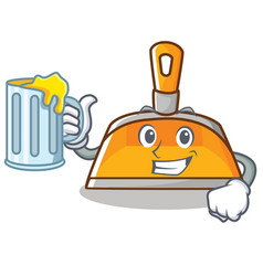 With juice dustpan character cartoon style vector