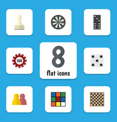 flat icon play set of poker chess table people vector image vector image
