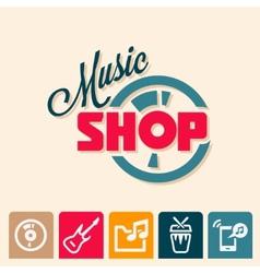 music shop logo vector image vector image