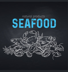 seafood banner vector image vector image