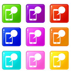 speech bubble on phone set 9 vector image