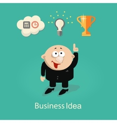 Businessman and idea info graphic with gears hand vector