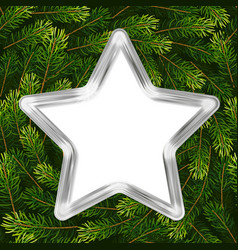 christmas holiday gift card with silver star and vector image