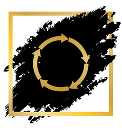 circular arrows sign golden icon at black vector image vector image