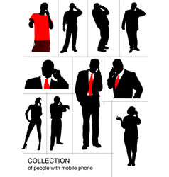 collection of people silhouette speaking by vector image vector image
