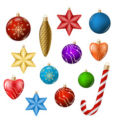 realistic christmas toys isolated on white vector image