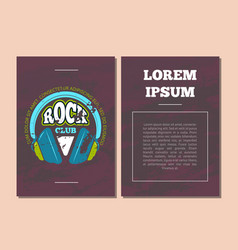 card flyer template with retro rock music vector image