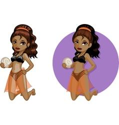 Cute young African American woman in bikini vector image vector image