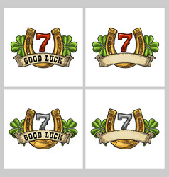 four leaf clover horseshoe ribbon with text good vector image