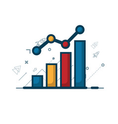 growth graph with growth arrow business concept vector image vector image