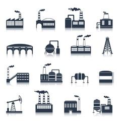 Industrial building icons black vector image vector image