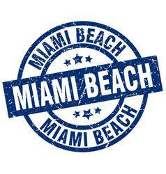Miami beach blue round grunge stamp vector