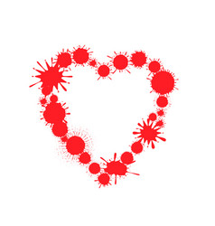 red paint splash heart vector image