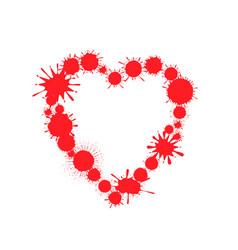 red paint splash heart vector image
