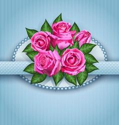 Roses postcard blue vector image