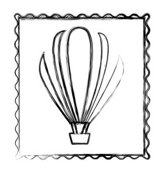blurred contour frame of hot air balloon icon vector image