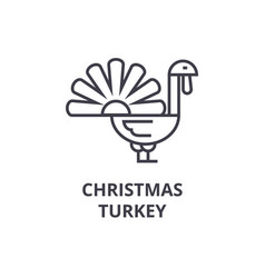christmas turkey line icon outline sign linear vector image