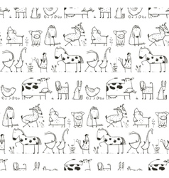 Funny Cartoon Farm Domestic Animals Seamless vector image