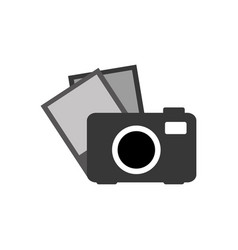 grayscale camera with picture icon vector image