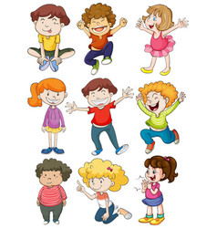 Nine characters of happy kids vector