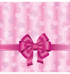 Pink background with ribbon and bow vector image