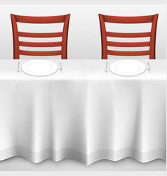 table with a tablecloth and chair vector image vector image
