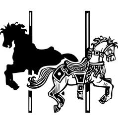 Wooden Carousel Horse Shadow vector image vector image