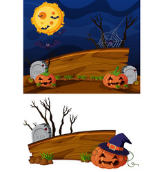 wooden sign template with halloween theme vector image