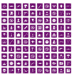 100 tension icons set grunge purple vector