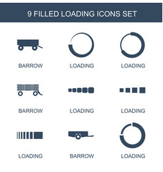 9 loading icons vector