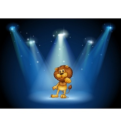 A stage with a brown lion at the center vector image