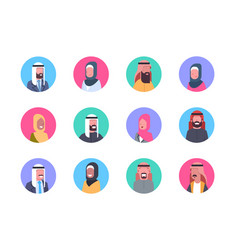 arabic profile avatar icon set arab men and women vector image
