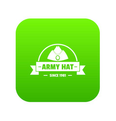 Army hat icon green vector