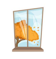 Atmospheric autumn window in a cartoon style cozy vector