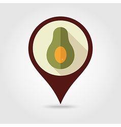 Avocado flat pin map icon Tropical fruit vector