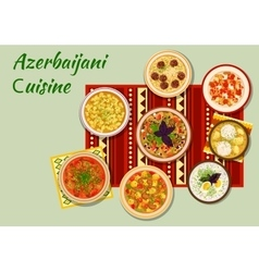 Azerbaijani cuisine dishes for dinner menu icon vector