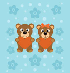 background with funny cartoon bears vector image