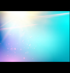 blue bokeh with sun glow on abstract light vector image