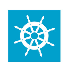 blue square frame with boat helm vector image