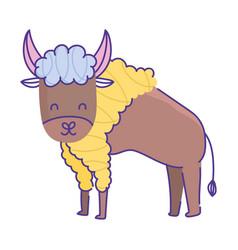 buffalo animal cartoon doodle color on white vector image