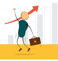 Businessman jump with growing chart vector